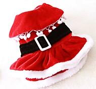 Недорогие -Кошка Собака Костюмы Платья Одежда для собак Очаровательный Косплей Рождество Однотонный Красный Костюм Для домашних животных