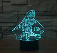 Недорогие -рыба касания затемнением 3D LED свет ночи 7colorful украшения атмосфера новизны светильника освещения свет рождества