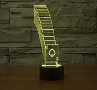игральные карты коснитесь затемнением 3D LED ночь свет 7colorful украшения атмосфера новизны светильника освещения свет рождества