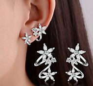 cheap -Women's Stud Earrings Clip Earrings Crystal Synthetic Diamond Basic Double-layer Sterling Silver Leaf Flower Heart Jewelry Wedding Party