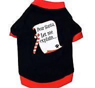 Недорогие -Кошка Собака Футболка Одежда для собак Контрастных цветов Черный Хлопок Костюм Для домашних животных Муж. Жен. На каждый день Новый год