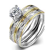 Damen Ring Verlobungsring Modisch Europäisch Modeschmuck Edelstahl Zirkon vergoldet Schmuck Für Hochzeit Party Alltag Normal Sport