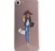 For iPhone 7 7 Plus 6S 6 Plus SE 5S Case Cover Fashion Girl Pattern High Permeability Painting TPU Material Phone Case