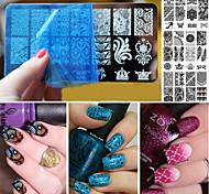 10pcs tema do Natal nail art carimbo de rendas unhas diy impressão placa azul imagem filmtemplate nascido consideravelmente prego carimbar