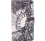 For Sony XP M4 Case Cover Life Tree Pattern Painting Card Stent PU Leather Phone Case