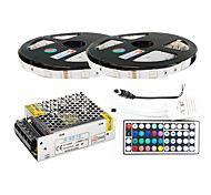 cheap -ZDM® 2x5M RGB Strip Lights 2*150 LEDs 1 44Keys Remote Controller / 1 X 5A power adapter / 1 DC Cables RGB Cuttable / Self-adhesive /