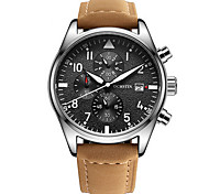 cheap -Men's Dress Watch Calendar Chronograph Water Resistant / Water Proof Quartz Genuine Leather Band Casual Luxury Black Brown