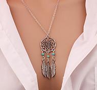 cheap -New Fashion accessories Jewelry Retro Women Bohemia Tassels Feather Pendant Necklace Dream Catcher Pendant Chain Necklace Gift