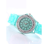 Women's Fashion Watch / Imitation Diamond Quartz Silicone Band SparkleBlack White Blue Red Orange Brown Green Pink Purple Yellow Beige Strap Watch