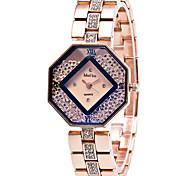 Mulheres Relógio de Moda Relógio de Pulso Relógios Femininos com Cristais Quartzo / Aço Inoxidável Banda Casual Legal Elegant Dourada