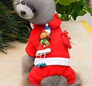 Недорогие -Кошка Собака Костюмы Толстовки Одежда для собак Очаровательный Рождество Однотонный Красный Костюм Для домашних животных