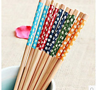 cheap -Environmental Art Chopsticks  Japanese Style Suit  Chopsticks  Creative Printing Bamboo Tableware  Five Small Suihua  (Random Colour)