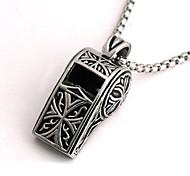 Недорогие -панк-стиль кулон ожерелье шарма нержавеющей стали 316l ретро высекая формы свистка мужчины и женщины ювелирные изделия