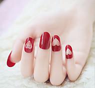 Недорогие -24 части ногтей лак для ногтей фототерапии великолепный великолепный винный красный алмаз закончил маникюр
