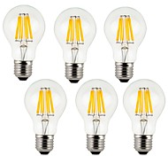 cheap -KWB 6pcs 7W 760lm E26 / E27 LED Filament Bulbs A60(A19) 8 LED Beads COB Decorative Warm White Cold White 220-240V