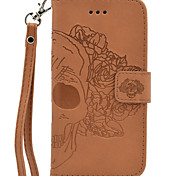 For Solid Color Hand Rope Style  Embossing Skull PU Card Holder Wallet Phone Case for iPhone 7 Plus 7 6 Plus 6 SE 5