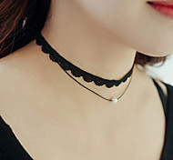 Women's Choker Necklaces Tattoo Choker Imitation Pearl Circle Pearl Lace Tattoo Style Personalized Double-layer Fashion Jewelry For