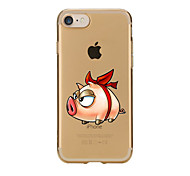 For Transparent Pattern Case Back Cover Case Cartoon Pig Soft TPU for IPhone 7 7Plus iPhone 6s 6 Plus iPhone 6s 6 iPhone 5s 5 5E 5C