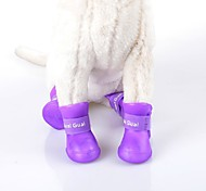 cheap -Cat Dog Boots / Shoes Waterproof Solid Black Purple Rose Green Blue For Pets