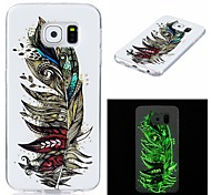 For Case Cover Glow in the Dark IMD Pattern Back Cover Case Feathers Soft TPU for Samsung Galaxy S7 edge S7 S6 edge S6 S5