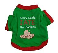 Cane T-shirt Abbigliamento per cani Divertente Di tendenza Natale Lettere & Numeri Verde