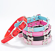 Dog Collar Adjustable / Retractable Bone PU Leather Black Rose Red Blue Pink