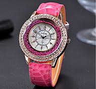 Mulheres Relógio de Moda Relógios Femininos com Cristais Relógio de Pulso Quartzo / Strass Couro Banda Vintage Casual Legal Preta
