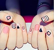 24 шт готового продукта накладные ногти лак для ногтей полоски розовый ногтевой пластины