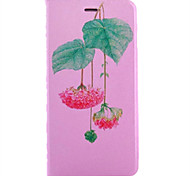 For IPhone 7 Plus 7 6 Plus 6 5s  Built-in Card Slot Silk Fashion Lotus Patterns Stand Flip Leather