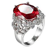 Ring AAA Cubic Zirconia Zircon Cubic Zirconia Steel Fashion Red Jewelry Casual 1pc