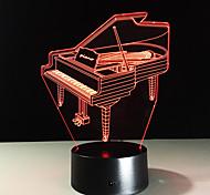 Недорогие -Новинка 3d piano usb night light lamp gadgets 7 изменение цвета home beddside lampara для ребенка новый год подарок дистанционное