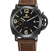 Men's Fashion Watch Quartz Calendar Water Resistant / Water Proof Leather Band Black Brown