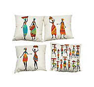 "Set of 4 National Style Linen Pillowcase Africa Original People Life(18""*18"")"
