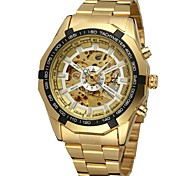 cheap -FORSINING Men's Skeleton Watch Wrist Watch Mechanical Watch Automatic self-winding Stainless Steel Gold Hollow Engraving Analog Luxury Fashion - Gold White Black
