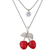 cheap -Women's Rhinestone Imitation Diamond Pendant Necklace - Cute Style Fashion Double-layer Others Cherry Fruit Red Necklace For Party Daily