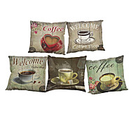 """Set of 5  Coffee Retro Style 5 Designs Printed Throw  Creative Decoration Pillow Cover(18""""*18"""")"""