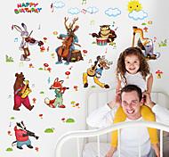 Недорогие -Животные Мультипликация Музыка Наклейки Простые наклейки Декоративные наклейки на стены, Бумага Украшение дома Наклейка на стену Стена