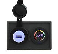 12v llevó adaptador USB voltímetro pantalla y 2.1a digital con panel de soporte de alojamiento para rv del carro del barco del coche