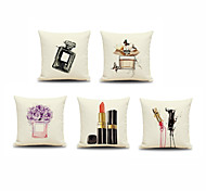 5pcs Painted Perfume Lipstick Pillowcase Home Decor Pillow Cover