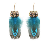 cheap -Fashion Women Owl Feather Drop Earrings