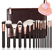 15 Pcs Brushes  And 1Pcs Cleaner Rose Golden Complete Makeup Brush Set Professional Luxury Set Make Up Tools Kit Powder Blending Brushes