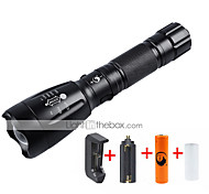 U'King LED Flashlights / Torch Flashlight Kits LED 2000 lm 5 Mode Cree XM-L T6 Adjustable Focus Rechargeable for Camping/Hiking/Caving