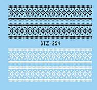1pcs Nail Art Watermark Sticker Black White Lace Water Transfer Decals Nail Art Polish Beauty Decoration STZ-254
