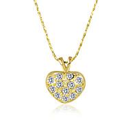 Mujer Collares con colgantes Collares de cadena Circonita Forma de Corazón Zirconio Chapado en Oro Legierung Diseño Básico Diseño Único