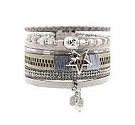Leather Bracelet Friendship Fashion Bohemian Handmade Leather Rhinestone Alloy Flower Star Irregular Jewelry For Wedding Party Special