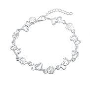 Women's Charm Bracelet Silver Plated Fashion Heart Heart Cut Silver Jewelry 1pc