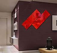 Недорогие -Зеркала Геометрия абстракция Наклейки Наклейки с кристаллами Зеркальные стикеры Декоративные наклейки на стены,Винил материалУкрашение