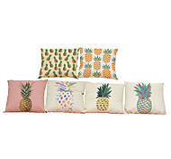 cheap -Set of 6  Creative  oil painting pineapple  pattern Linen Pillowcase Sofa Home Decor Cushion Cover (18*18inch)
