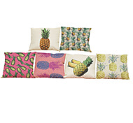 cheap -Set of 6  Oil painting pineapple  pattern Linen Pillowcase Sofa Home Decor Cushion Cover (18*18inch)
