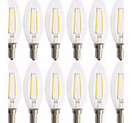 cheap -12pcs 2W 180 lm E14 LED Filament Bulbs C35 2 leds COB Decorative Warm White AC 220-240V